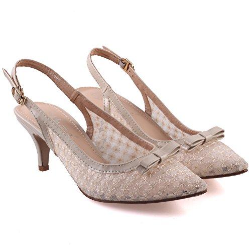 Unze Zapatos de punta Corte Mujeres Bowie ' Beige