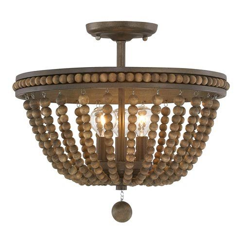 Austin Allen & Co 9A122A Handley - Three Light Semi-Flush Mount, Tobacco/Stained Wood Beads Finish (Austin 3 Light Flush)