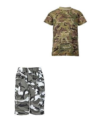 d3eee82a4da760 LotMart enfants POCHES MULTIPLES short camouflage paquet avec garçons  Kombat armée T-shirt - Gris