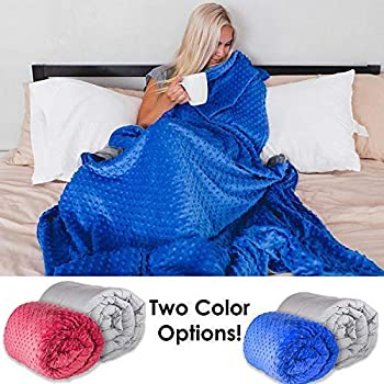 Sleepah Weighted Blanket (16lb with Cover) Blanket for Adults & Kids - Includes Soft Fluffy Minky Warm Cover (Washable/Removable) Heavy Blanket (Saphire Blue)