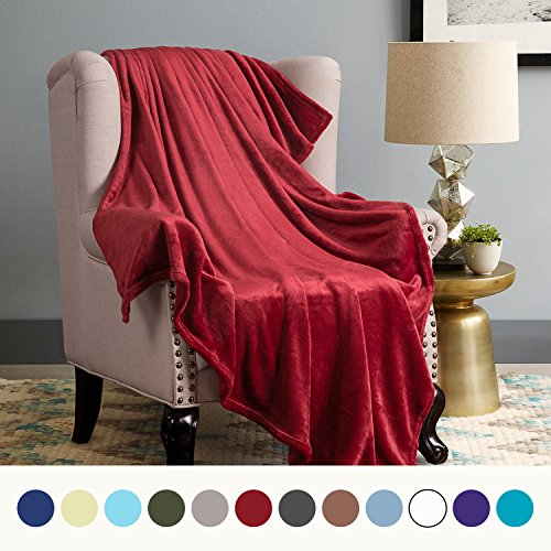 Burgundy Throw (Flannel Fleece Luxury Blanket Red Throw Lightweight Cozy Plush Microfiber Solid Blanket by Bedsure)