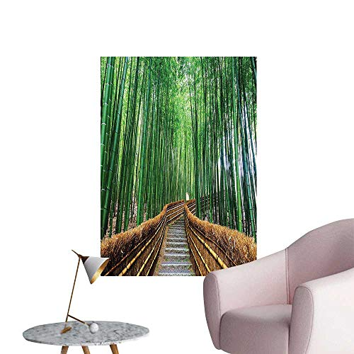 Wall Stickers for Living Room Over Bamboos P Tropical N ure Way Quiten Peaceful View Digital Green Vinyl Wall Stickers Print,28