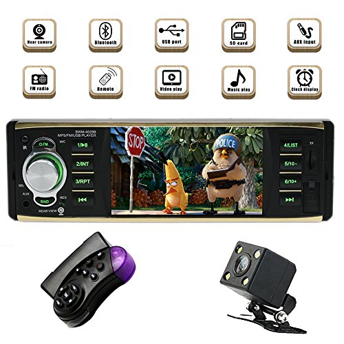 Single Din Bluetooth Car Stereo with USB/SD/AUX/FM Car Radio Player Car Audio with 4.1 Inch HD Screen Backup Camera Steering Wheel Remote Control