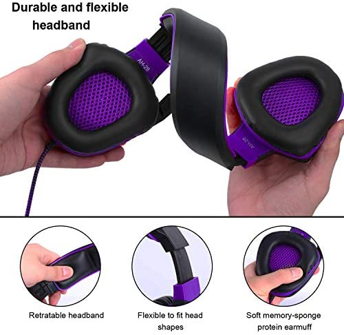 Anivia AH28 Gaming Headset Noise Isolating Over Ear Headphones with Mic, Volume Control, Bass Surround, Soft Memory Earmuffs for Xbox One PS4 PC Laptop Mac Phones Nintendo Switch Games-Black Purple