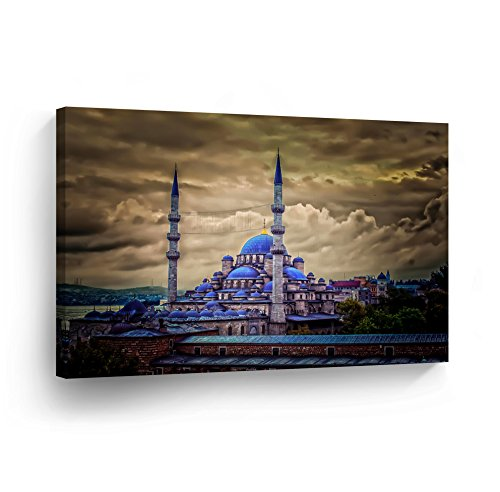 Islamic Wall Art Canvas Blue Mosque in Istanbul High Dynamic Range Print Home Decor Arabic Calligraphy Decorative Artwork Gallery -%100 Handmade in the USA - 30x40 by SmileArtDesign