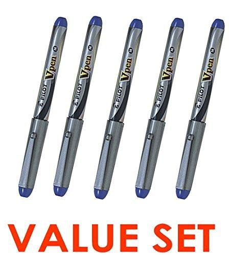 Pilot V Pen (Varsity) Disposable Fountain Pens, Blue Ink, Medium Point Value Set of 5(With Our Shop Original Product Description) cheap