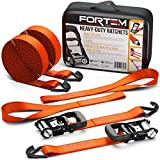 FORTEM Ratchet Tie Down Straps, Heavy Duty, 2X 15ft Securing Straps, 2X Soft Loops 4500lb Break Strength, Rubber Coated Metal Handles, Metal Hooks, Carrying Case