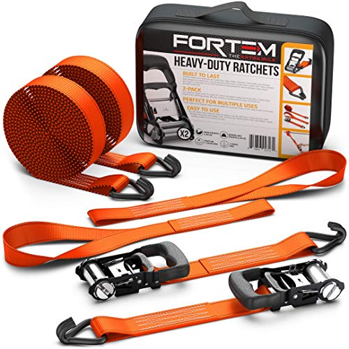 FORTEM Heavy Duty Ratchet Tie Down Straps 1.5 Inch | 4pc Set | 2250lb Load Strength & 4500lb Break Strength |Rubber Coated Handles| Metal Buckles & J-Hooks | 2 x 15ft Securing Straps & 2X Soft Loop