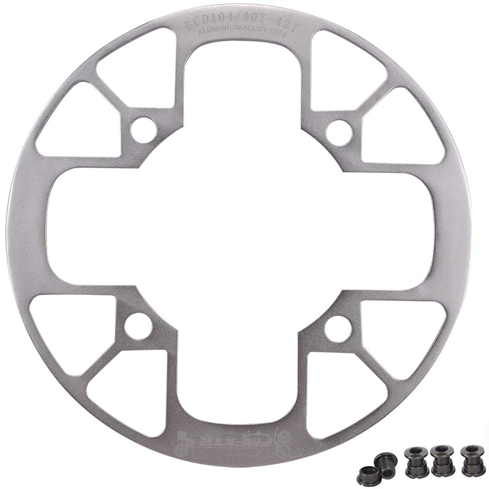 UPANBIKE Montain Bike Chainring Guard 104 BCD Aluminum Alloy Chain Ring Protector Cover for 32~34T 36~38T 40~42T Chainring Sprockets (Silver, 36T~38T) by UPANBIKE