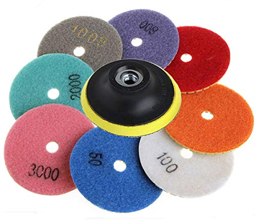 Pads Set, 4 inch Wet/Dry Concrete Polishing Pads with Hook and Loop Backing Holder Disc for Marble Granite Stone Concrete Marble Floor Grinder or Polisher, 50#-3000# ()