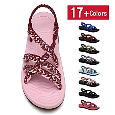 MEGNYA Women's Comfortable Flat Walking Sandals with Arch Support Waterproof for Walking/Hiking/Travel/Wedding/Water Spot/Beach.
