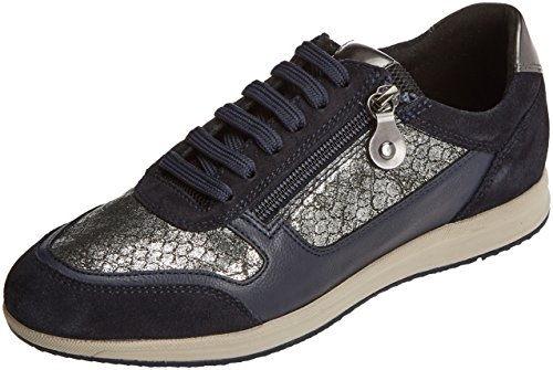 Geox D Avery a, Zapatillas para Mujer Gris (Dk Grey/navy)