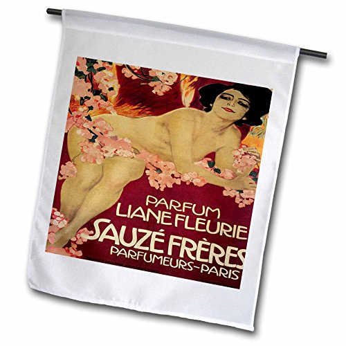 3dRose fl_169735_1 Parfum Liane Fleurie Paris France French Perfume Poster Reproduction Garden Flag, 12 by 18-Inch ()