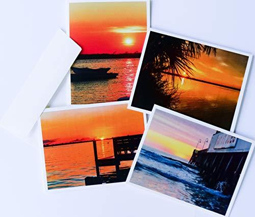 Nightfall Collectors - Sunrise/Sunset Note Cards Original Elegant Photographic Textured White Blank 4.25