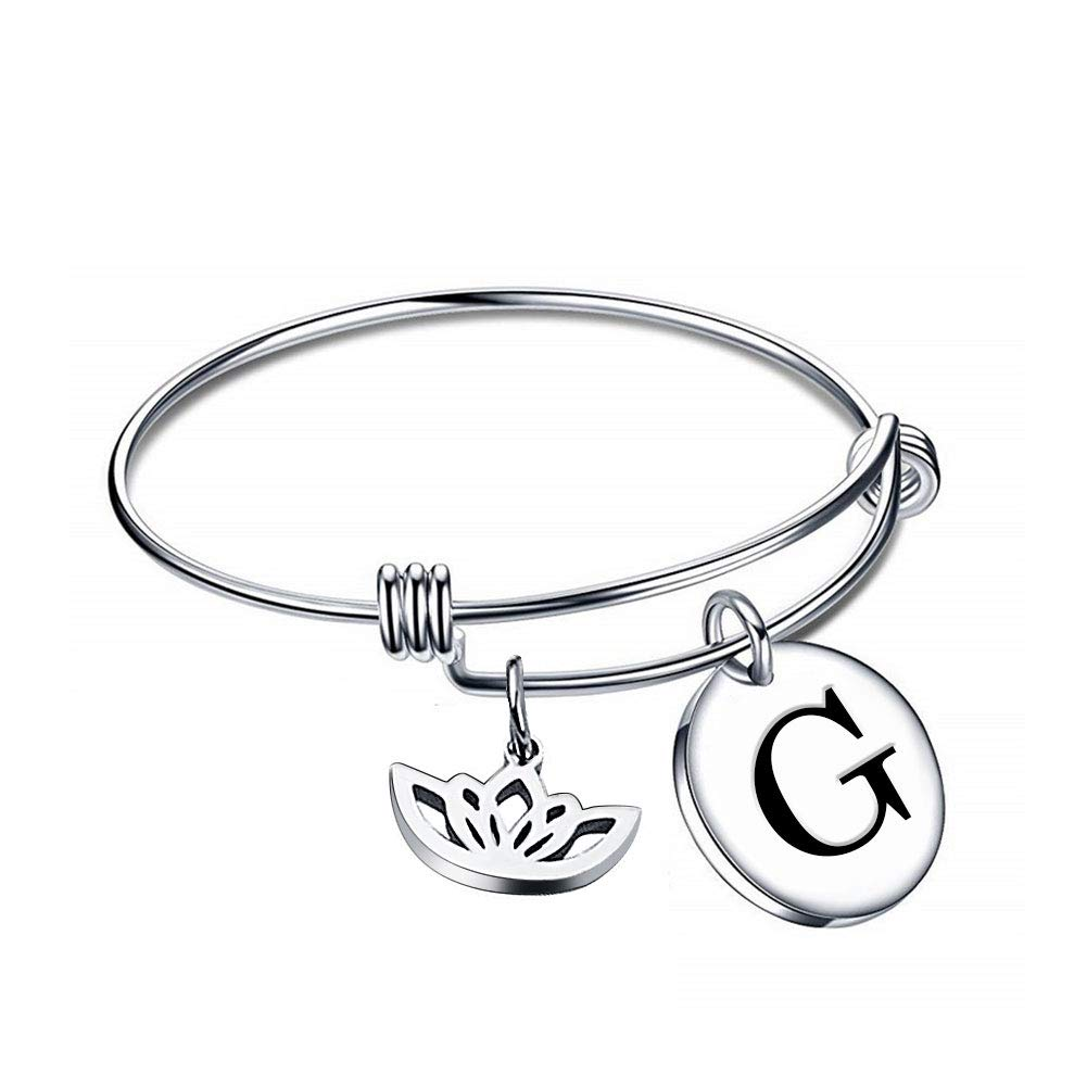 DemiJewelry Initial Letter Expandable Wire Bangle Bracelet Personalized Jewelry