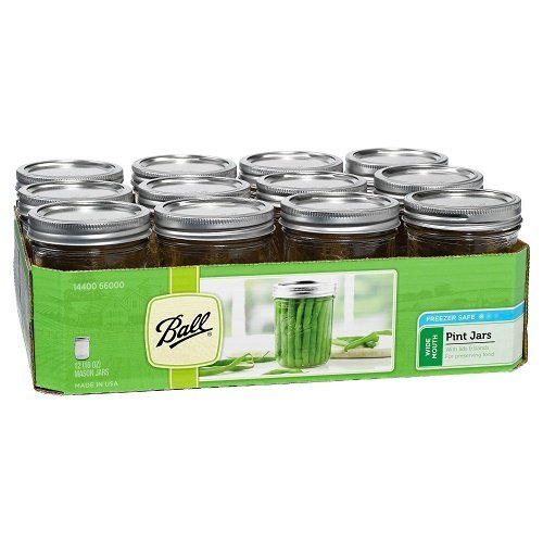 Ball Wide Mouth Pint 16-Ounce Glass Mason Jar with Lids and Bands, 12-Count