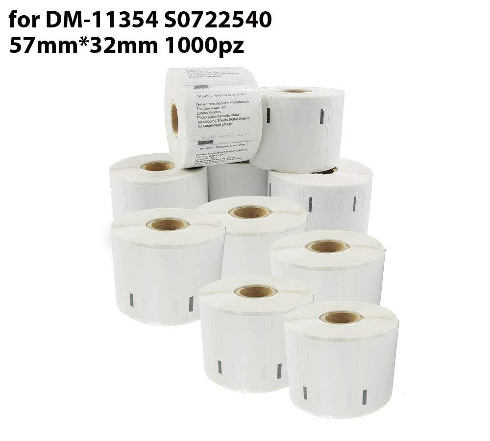 etichette multiuso autoadesive compatibili per Dymo LabelWriter DM 11354 S0722540 57 x 32 mm (1000 pezzi a rotolo) 10 Rotoli aColoriStore