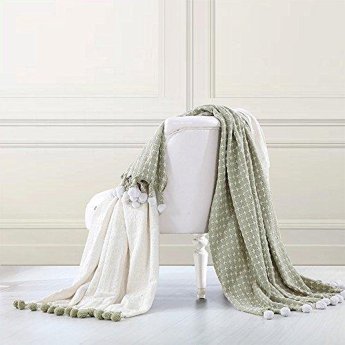 Cross Stitch Pom Pom Throw Blanket - 100% Soft Premium Cotton Blanket - 50