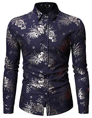 HOP Fashion Mens Folral Flowers Print Shirt Luxury Gold Silver Design Long Sleeve Slim Fit Button Down Shirts HOPM342-Navy-S