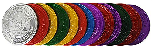 Complete Set of 13-24hr,1,2,3,4,5,6,7,8,9,10,11,18 Month - (REA) - Aluminum AA Medallions