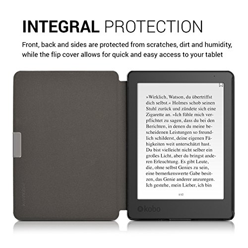 kwmobile Case Compatible with Kobo Aura Edition 2 - Book Style PU Leather e-Reader Cover Folio Case - Brown