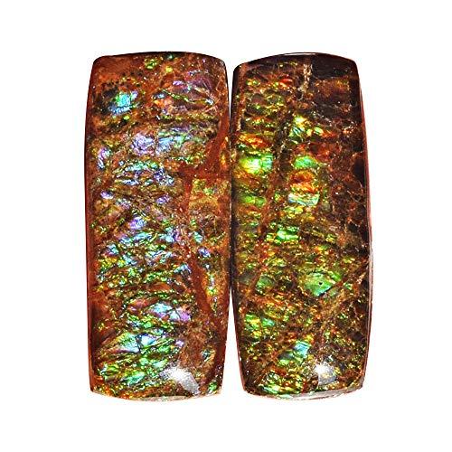 (ABC Jewelry Mart Ammolite Green Blue Flashy Pair Gemstone, Size 25x10x5 MM, Earring Pair New Stone, Ammonites Fossilized AG-12132)