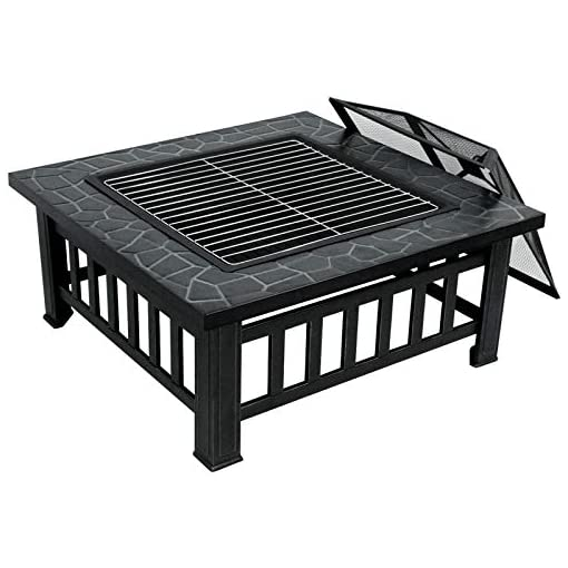 Fire Pits ZENY 32'' Fire Pit Bonfire Pit Wood Burning Firepit Square Fire Pit Bowl Camping for Outside Backyard BBQ with Screen… firepits