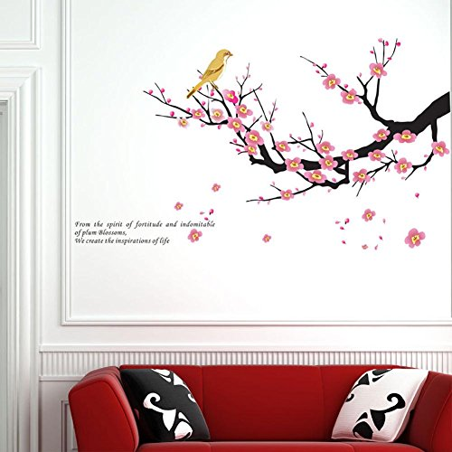 BIBITIME Early Spring Oriole Yellow Bird on Blossoming Plum Blossom Wall Art Sticker Decals for Living Room Vinyl Quotes,DIY Size 39.37