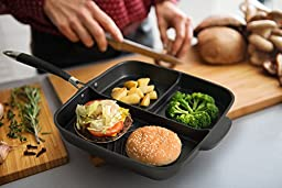 MasterPan Non-Stick 3 Section Meal Skillet, 11\
