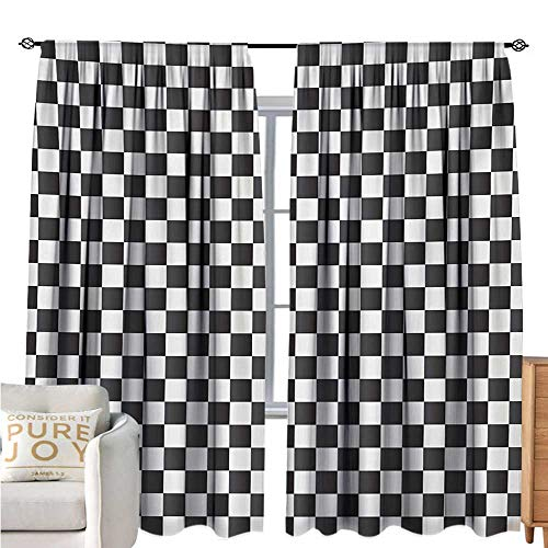bybyhome CheckeredRoom Darkening CurtainsMonochrome Composition with Classical Chessboard Inspired Abstract Tile PrintBlackout Draperies for Bedroom W96 xL72 Grey ()