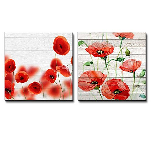 Photograph of Red Poppies on a Field Along with Watercolor Poppies Over White Wooden Panels