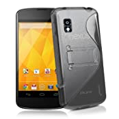 JKase Premium Quality LG Google Nexus 4 E960 DUOBLO TPU Hard Stand Case Cover - Retail Packaging - Grey