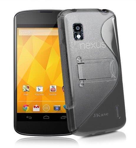JKase Premium Quality LG Google Nexus 4 E960 DUOBLO TPU Hard Stand Case Cover - Retail Packaging - Grey