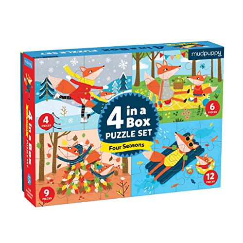 Seasons Puzzle Set - Mudpuppy Four Seasons 4-in-A-Box Puzzles, Ages 2-5 - Set of 4 Weather Seasons Puzzles, Varying Difficulty Levels
