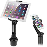 Image of Cup Mount Holder iKross 2-in-1 Tablet and Smartphone Adjustable Swing Cradle with Extended Cup Car Mount Holder Kit for Apple iPad iPhone Samsung Asus Tablet Smartphone and Uber Lyft Driver - Black