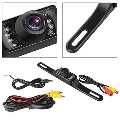 (GTP Vehicle Rear View Backup Camera Wide Viewing Angle License Plate Mount Parking Assist Kit - Waterproof High Definition Color with 7 Infrared Night Vision LED)