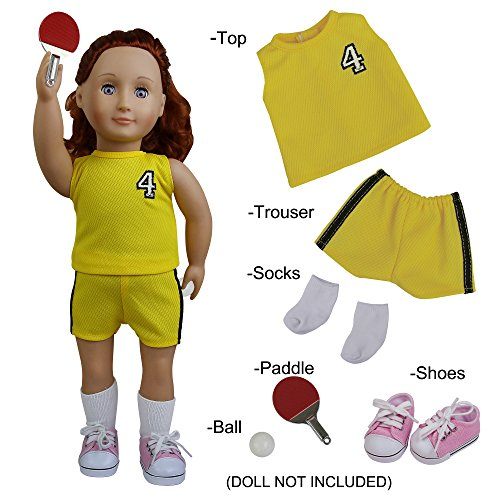 ZITA ELEMENT 6PCS Sport Look Doll Clothes- 1xTop+1xTrouser+1xBall+1xPaddle+1xShoes+1xSocks Outfit for 18 inches American Girl Doll Clothes