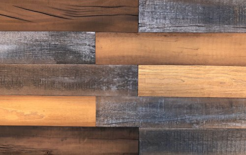 Smart Paneling 11232 Antique Accent Wall Wood Planks, Brown, 14 Piece