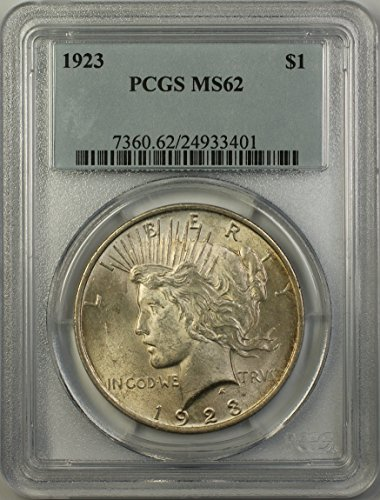1923 Peace Silver Dollar Coin (ABR14-E) Light Toning $1 MS-62 PCGS