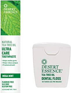 product image for Desert Essence Natural Tea Tree Oil Toothpaste & Floss Bundle - 6.25 Ounce Ultra Care Toothpaste - 50 Yards Dental Floss - Freshens Breath - Oral Care - Refreshing Taste