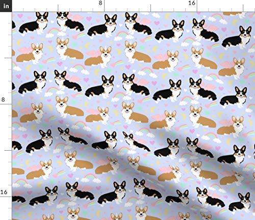 Spoonflower Pastel Fabric - Corgi Dog Unicorn Dogs Corgis by Petfriendly Printed on Fleece Fabric by The Yard