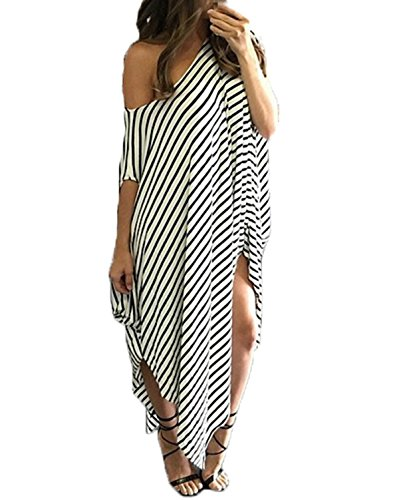ZANZEA+Women%27s+One+Off+Shoulder+Striped+Irregular+Long+Maxi+Dress+Kaftan+Dress+Stripe+S