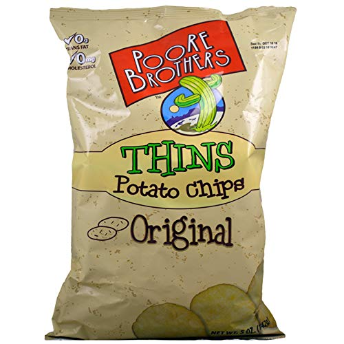(Pack of 16) Poore Brothers Thins Potato Chips Original 5 oz