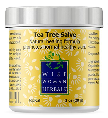Wise Woman Herbals - Tea Tree Salve - 1 oz - Natural Aid for Common Causes of Skin Irritation, Promotes Normal Healthy Skin, Helps Aid Dry Itchy Skin and Irritation on Toenails, Fingernails, and Body