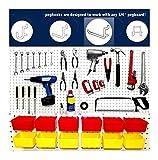 10 Yellow Plastic Bins, 80 White Peg Hooks - Garage Pegboard Storage - Workbench
