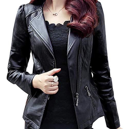 Plus Rider Leather Jacket Size Pu Style Womens Black Notched RkBaoye Lapel 4qyFOpwF5