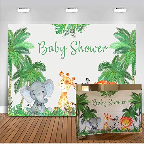 Mocsicka Safari Baby Shower Decorations Backdrop Woodland Forest Animal Baby Shower Photography Background 7x5ft Vinyl Jungle Safari Baby Shower Party Banner Photo Backdrops -