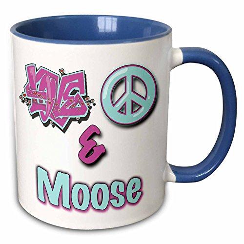 3dRose 122862_6 Love Peace and Moose Purple Two Tone Blue Mug 11 oz White