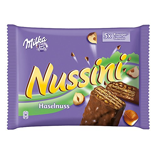 Milka Nussini Chocolate Covered Filled Hazelnut Wafers 5x37g