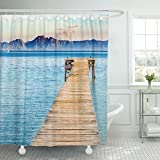TOMPOP Shower Curtain Beautiful Scenery with Jetty at the Seaside of Alcudia Beach Platja De Muro Spain Majorca Mediterranean Waterproof Polyester Fabric 72 x 78 Inches Set with Hooks
